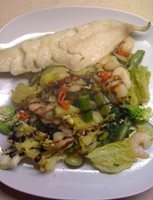 Spicy Vegetables with Haddock & prawns